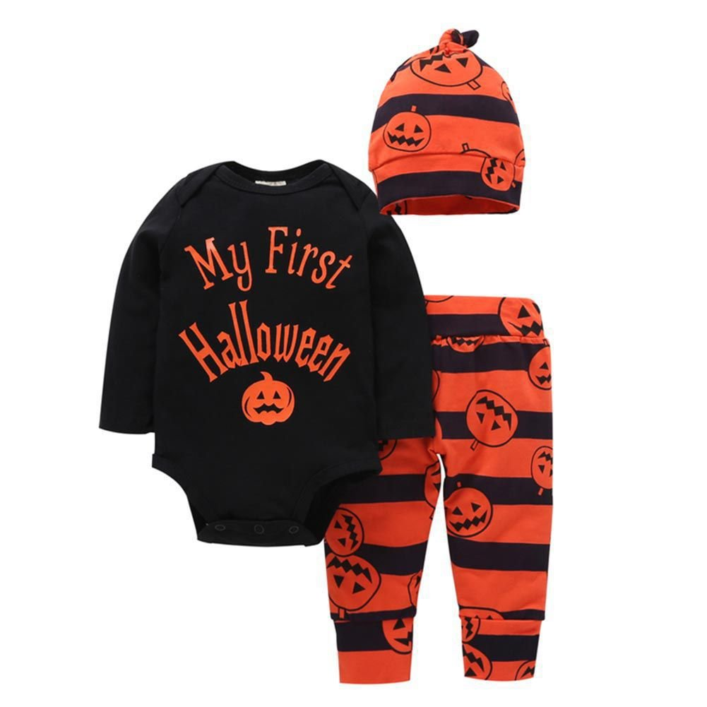 Hongyuangl Bambino unisex halloween costume zucca il mio primo Halloween 3 pezzi neonato e abiti ragazza tuta