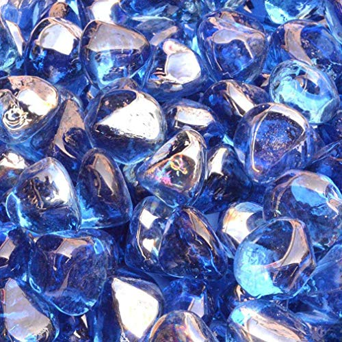 Stanbroil 10-Pound 1/2 Inch Fire Glass Diamonds for Fireplace Fire Pit, Royal Cobalt Blue Luster (Cobalt Blue Crystal Bowl)