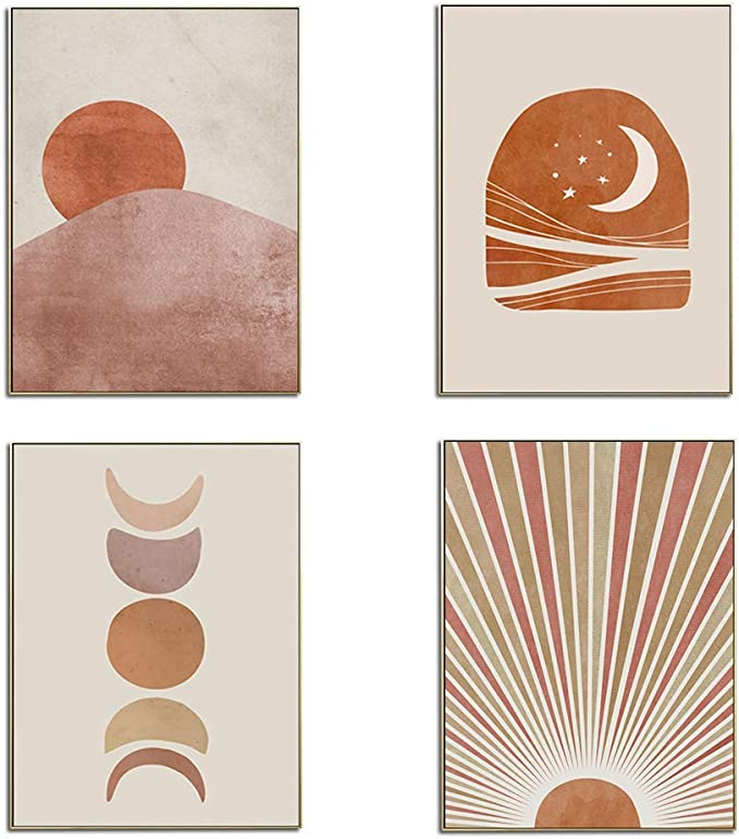 Amazon Com Xgxl Sun And Moon Canvas Wall Art 4 Pieces Unframed Sunset Sunrise Landscape Artwork For Home Decorations Bedroom Wall Decor Posters Prints