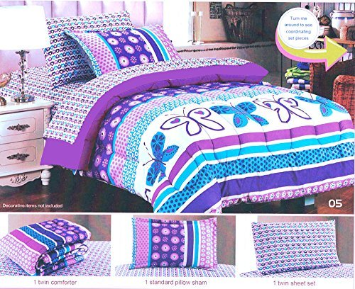 Girls Cartoon Purple Butterfly Polka Dot Comforter Set 5pcs Twin Size Girl's Pop Art Striped Bedding Sheet Set