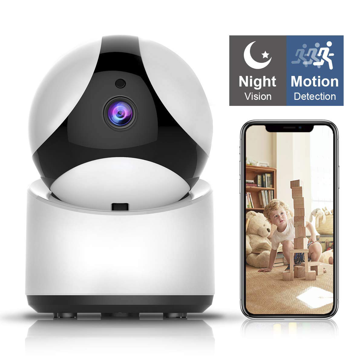 Wireless Security Camera, UOKOO HD Home Security Surveillance WiFi Camera with Motion Detection, Pan/Tilt, Night Vision and Two Way Audio, Baby/Pet Monitor and Nanny Cam by SportMonster