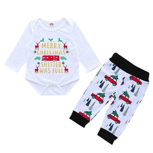 b92af6798 KONFA Toddler Newborn Baby Boys Girls Christmas Clothes,Letter Deer Print  Romper+Pants 2Pcs