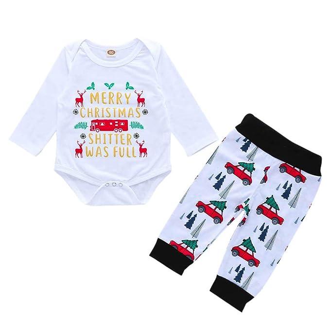 ae4cd00e224 K-youth Regalo Conjuntos Bebe Niña Navidad Estampado de Carta Body Bebe  Manga Larga Monos Mameluco Ropa Bebe Recien Nacido Niño Invierno Tops +  Pantalones ...