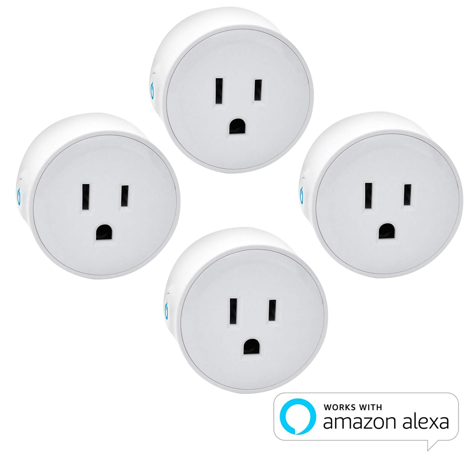 Digital Gadgets Compact Wi-Fi Enabled Smart Plug Control From Smartphone Anywhere Compatible with Alexa 4pack