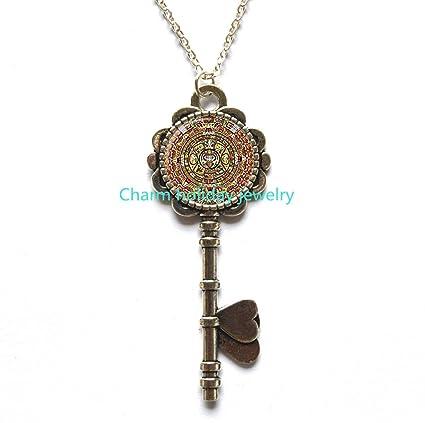 Amazon mayan key necklace calendar aztec image pendantmayan mayan key necklace calendar aztec image pendantmayan calendar mayan art aloadofball Image collections