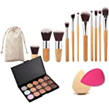 Generic 11 Makeup Brush 15-Color Concealer Palette And 2 Cosmetic Sponge-54003210MG