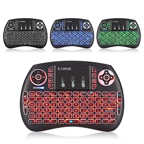 EARME iPazzport Wireless Mini Keyboard,RGB 3 Color 2.4GHZ Mini Keyboard Backlit with Touchpad and Mouse Remote Control for PS3,PC, Xbox 360, Android TV Box, Smart TV KP-21S