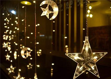 Luces LED de Halloween Navidad Halloween Año Nuevo Casa Boda Jardín Cortina Lámpara Bar Neón Led Estrella Luna Decoración Luces de la noche Cadena Luz cálida: Amazon.es: Iluminación