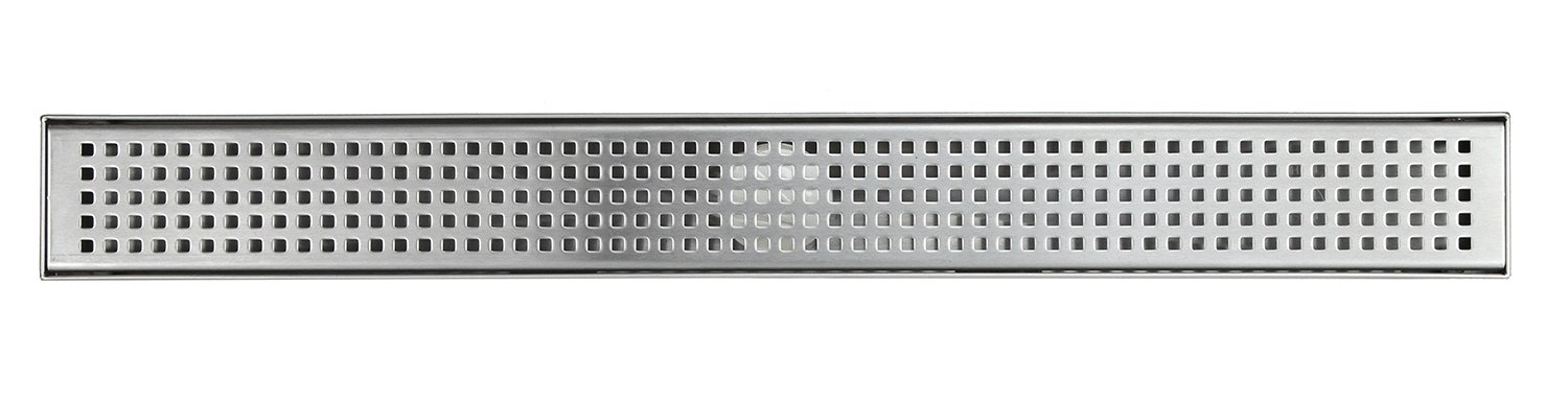 Shower Linear Drain 48 Inch - Square Checker Pattern Grate - Brushed 304 Stainless Steel - Bonus 2-Sided Tile Insert & Flat Grate and Threaded Adaptor - Adjustable Leveling Feet (48 Inch) by eModernDecor (Image #3)