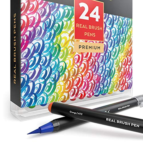 Arteza Real Brush Pens, 24 Paint Markers with Flexible Brush Tips, Professional Watercolor Pens for Painting, Drawing, Coloring & More, 100% Nontoxic, Multiple Colors by ARTEZA