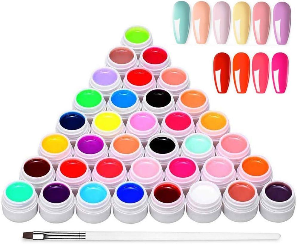 Anself Gel Uñas 36 Colores Art-Pigmentos del Esmalte de Uñas Juego de Pigmentos para Uñas, Poli Gel UV Esmalte Pegamento sólido