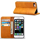 iPhone 7 Wallet Case, iPhone 8 Case, Ftongcase Slim Fit Premium PU Leather Flip Folio Wallet Case with ID&Credit Card Slot Holder [Kickstand Feature] Magnetic Snap On Cover for Apple iPhone 7/8 Light