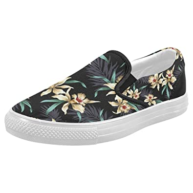 ffbdabd3255a45 INTERESTPRINT Hawaiian Floral Casual Slip-on Canvas Women s Fashion Sneakers  Shoes
