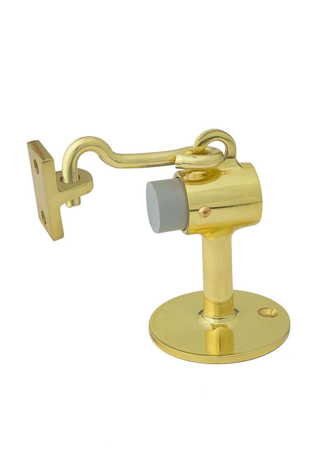 Rockwood 473.3 Brass Door Stop with Keeper #8 x 3//4 OH SMS Fastener with Plastic Anchor Polished Clear Coated Finish 2-1//2 Base Diameter x 3-3//4 Height