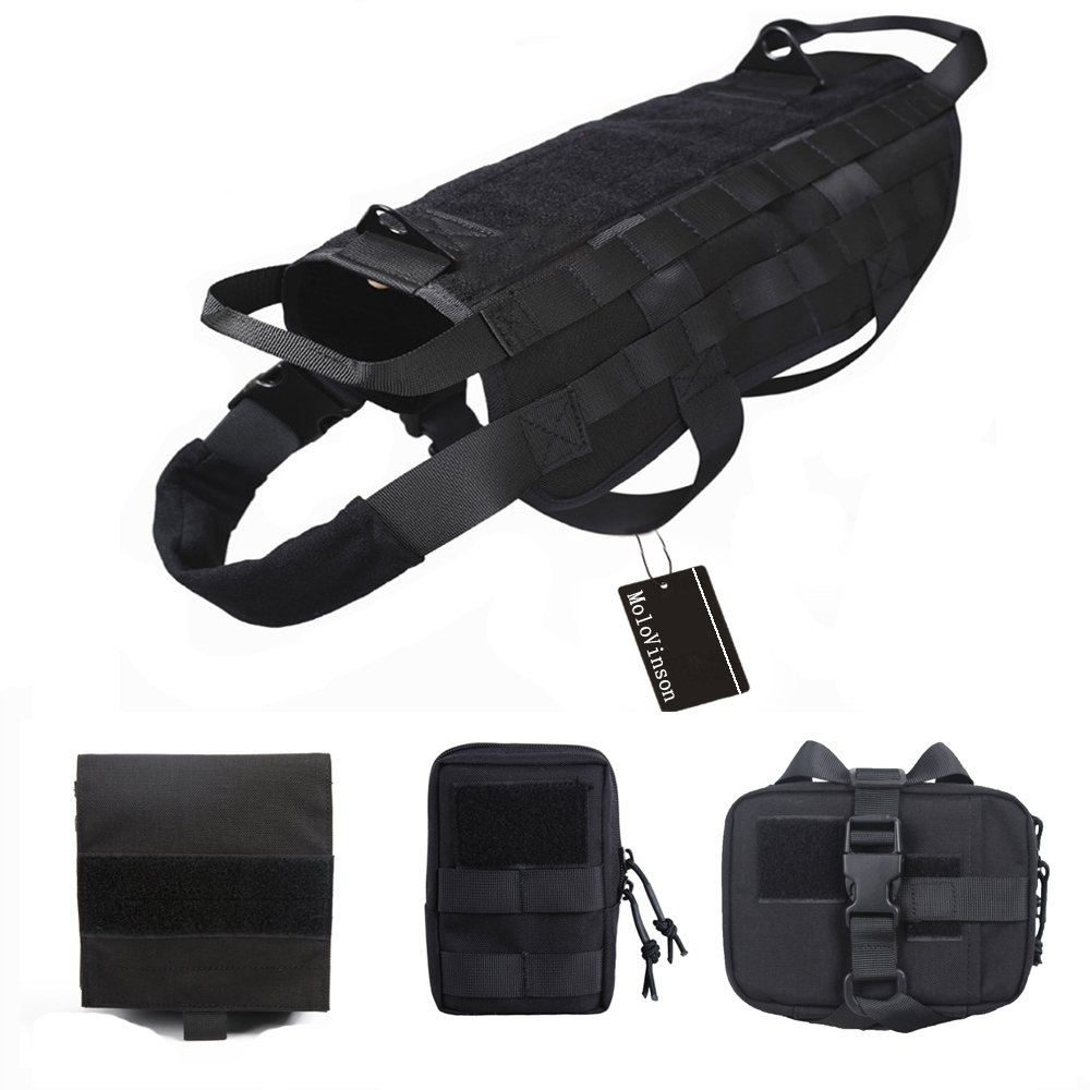 MoloVinson Tactical Dog Molle Vest Harness Training Camping Dog Vest with Detachable Pouches Military Patrol K9 Dog Harness for Medium & Large Dog spanker