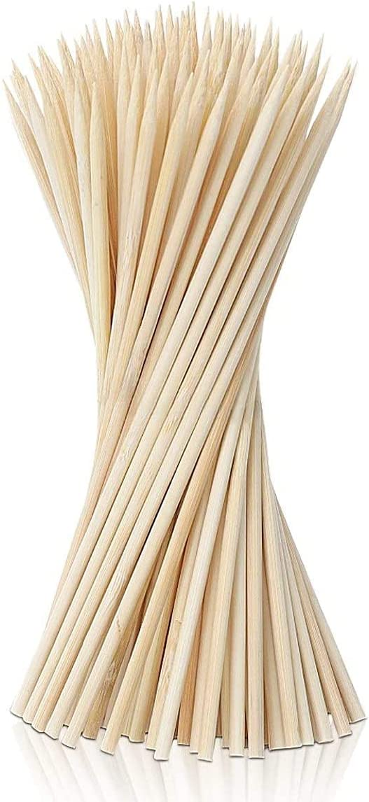 The Dreidel Company Natural Bamboo Skewers for Food, Wooden Skewers for Assorted Fruits, Kebabs, Grill, Suitable for Kitchen, 10