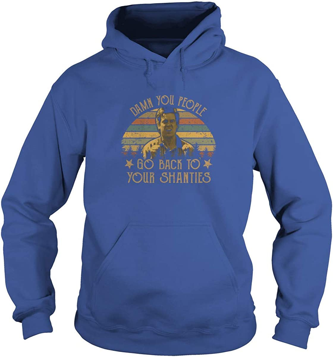2XL, Royal Blue Unisex Damn You People Go Back to Your Shanties Vintage Adult Hooded Sweatshirt