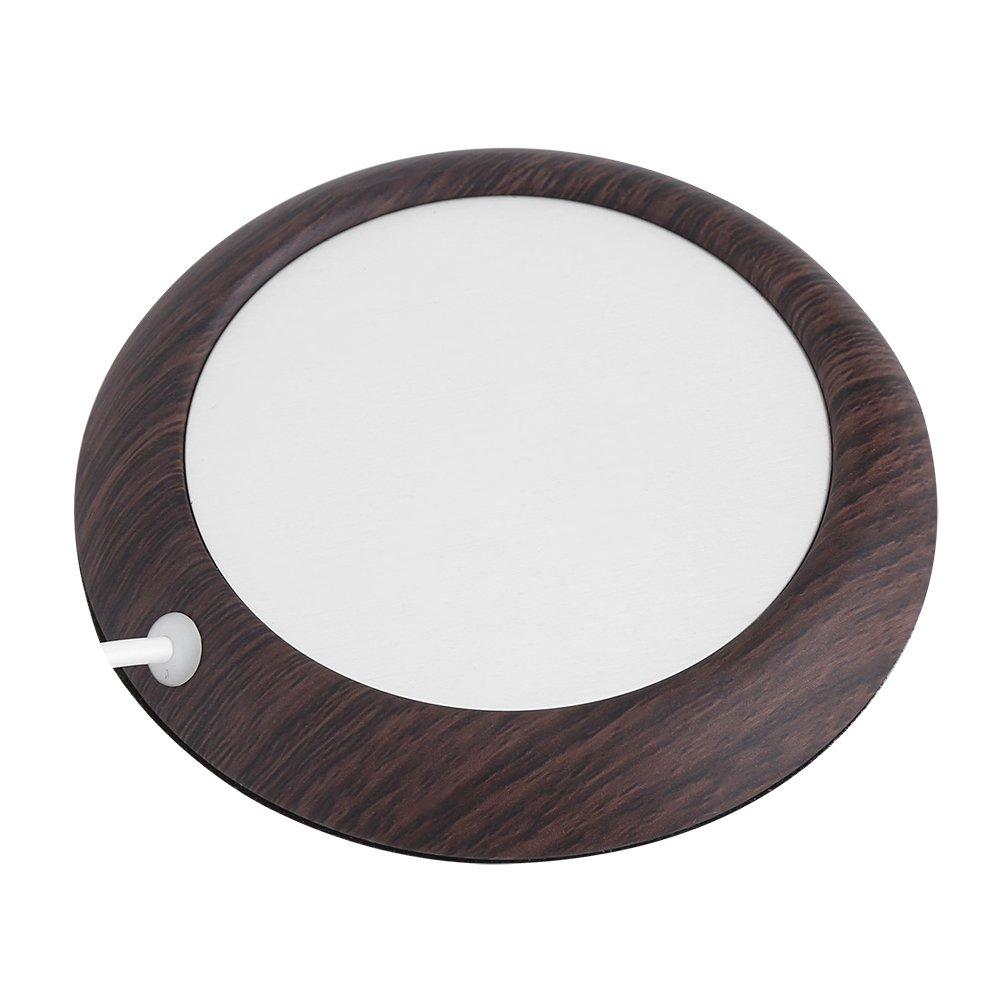1000mA 5W USB Wood Grain Cup Warmer Heat Beverage Mug Mat Office Tea Coffee Heater Pad for Home//Office Dark Wooden Grain