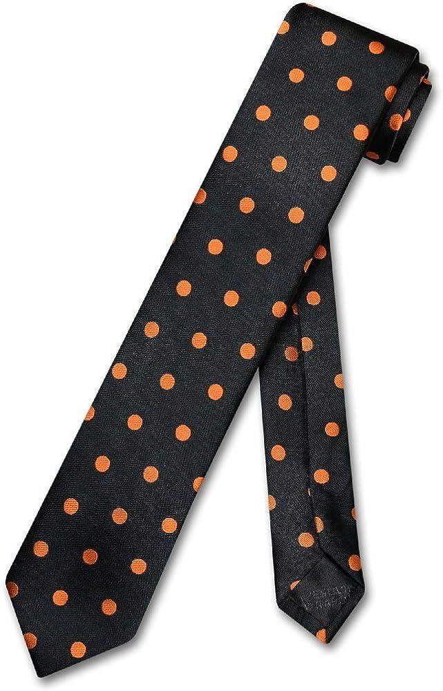 "Vesuvio Napoli NeckTie Skinny BLACK w// WHITE Polka Dots Men/'s 2.5/"" Thin Neck Tie"