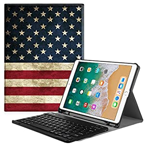 Fintie iPad Pro 10.5 Keyboard Case with Built-in Apple Pencil Holder - SlimShell Protective Cover with Magnetically Detachable Wireless Bluetooth Keyboard for Apple iPad Pro 10.5 Inch 2017, US Flag