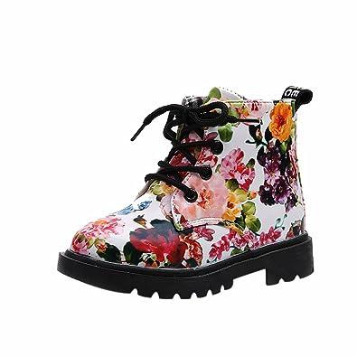 9a00728f38e78 Sunenjoy Filles Mode Floral Brevet Cuir Enfants Chaussures Bébé Martin  Bottes Occasionnel Enfants Bottes (21
