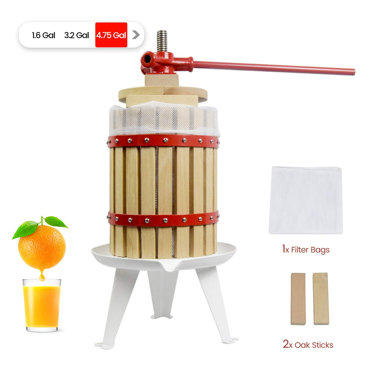 4.75 Gallon Fruit Wine Press - 100% Nature/Healthy Apple&Grape&Berries Crusher Manual Juice Maker for Kitchen, Solid Wood Basket with 2 Blocks Cider Wine Making Press (LFGB Certified,Heavy Duty) by EJWOX
