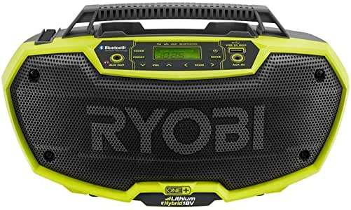 Ryobi P746 One+ 18-Volt Lithium Ion / AC Dual-Powered AM/FM Stereo System with USB and Bluetooth Technology (Battery, Charger, and Extension Cord Not Included / Radio Only)