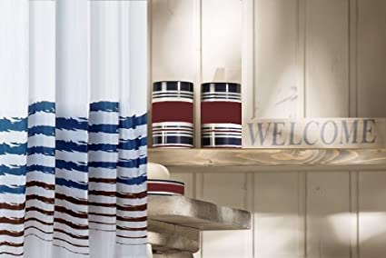 Sanwood Susa Red White Blue Patriotic Shower Curtain WxH 71x79 In 180x200cm