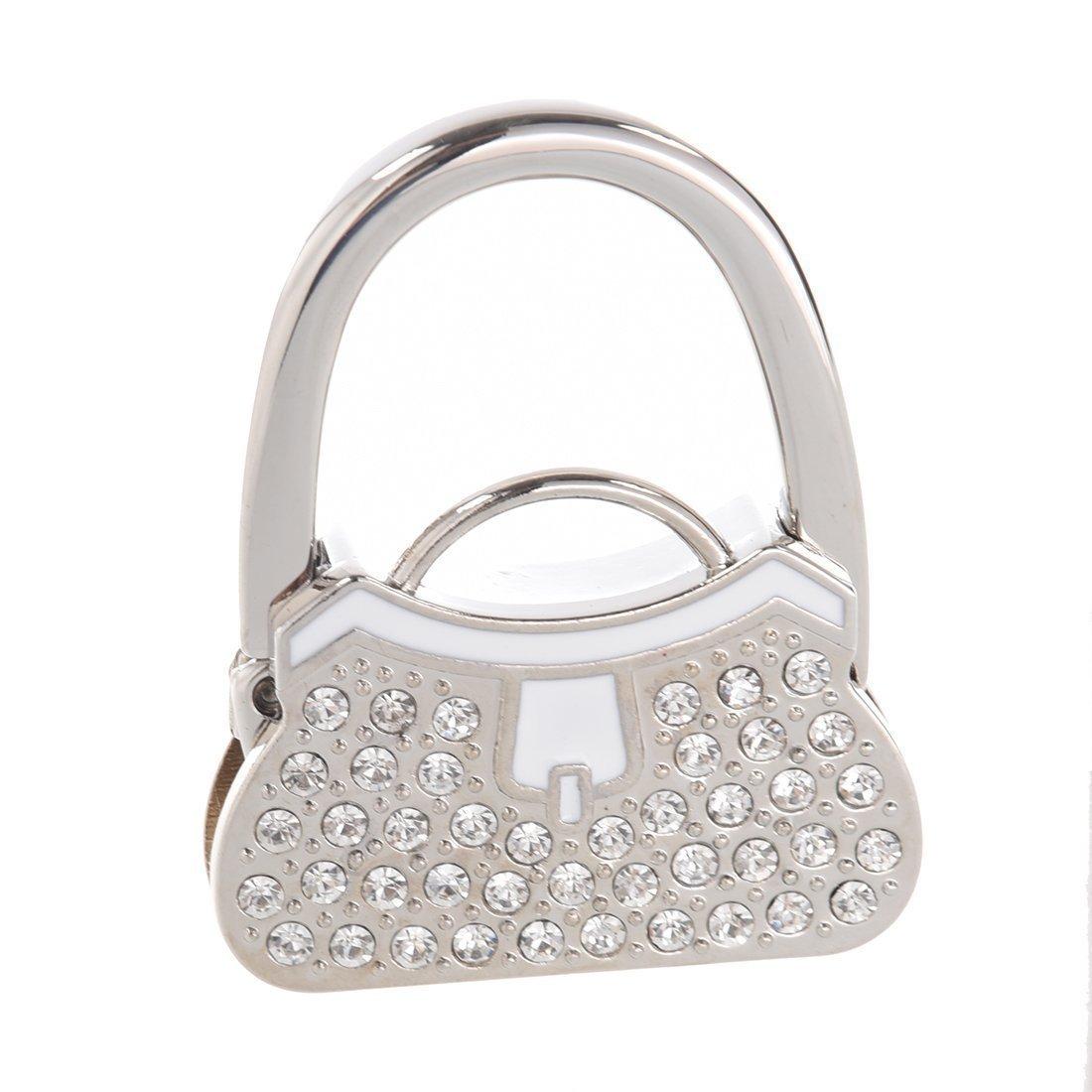 SODIAL(R) Sostenedor percha gancho de mesa monedero bolso plegable diamante de imitacion metal NTWNMJHGDU495