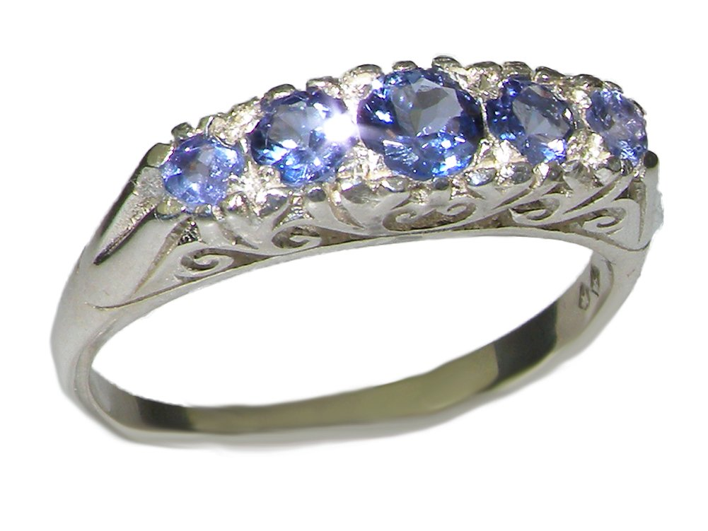 925 Sterling Silver Real Genuine Tanzanite Womens Band Ring - Size 11