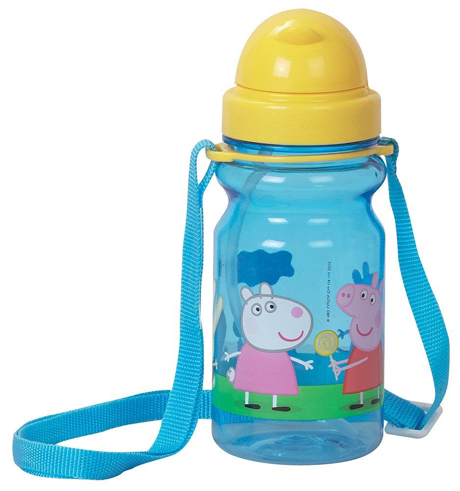 Fun House 005180 Peppa Pig Cantimplora con Bandolera para niñ os poliestireno/PE/PP Azul 6.5 x 17, 5 cm 5cm CIJEP
