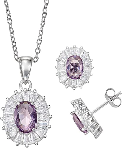 Halo Square Earrings Simulated Amethyst Clear Simulated CZ .925 Sterling Silver