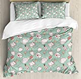 Ambesonne Tea Party Duvet Cover Set Queen Size, Polka Dots on Teapots and Cups Cupcake with Cherry on Top Teabag English, Decorative 3 Piece Bedding Set with 2 Pillow Shams, Almond Green Coral