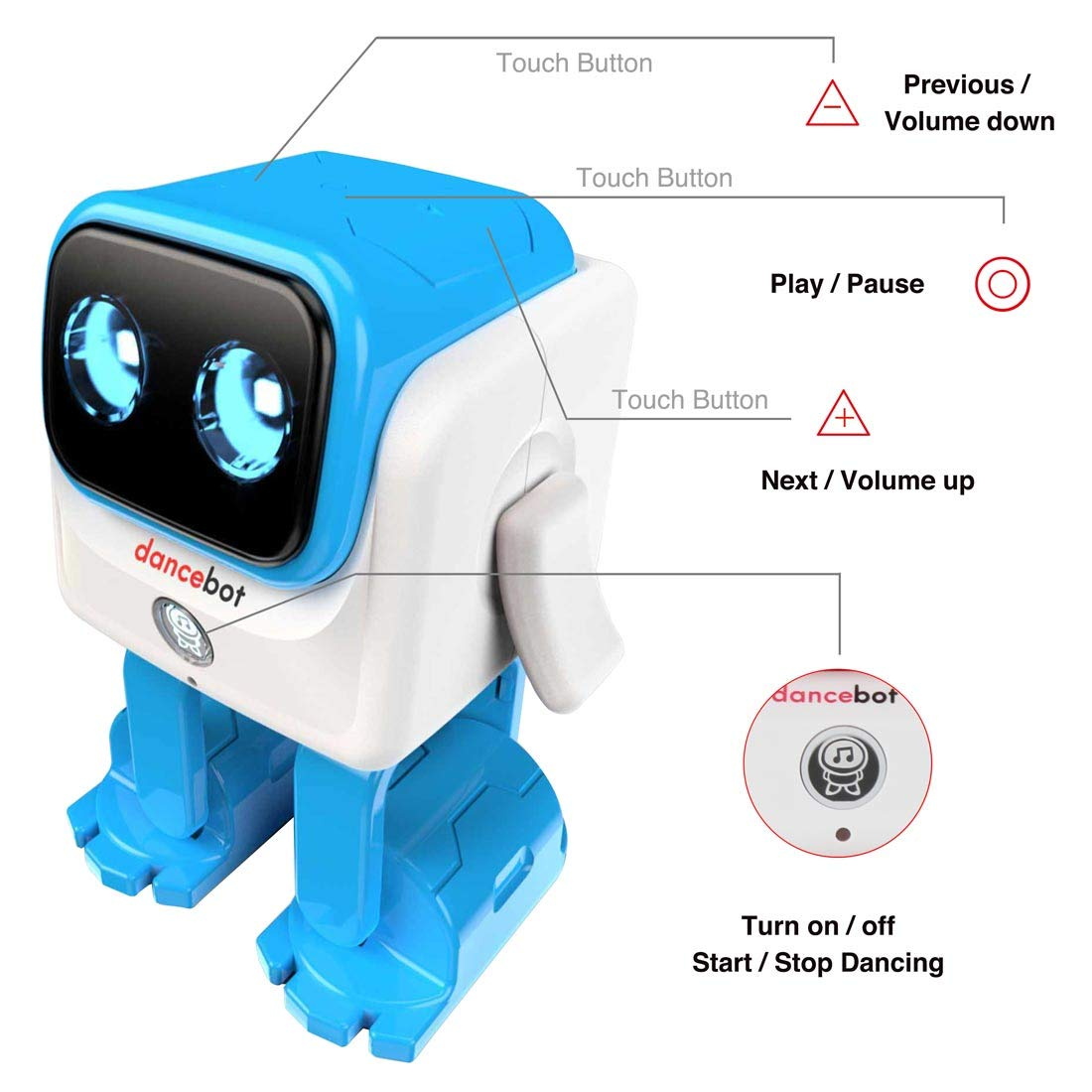 Echeers Kids Toys Dancing Robot for Boys and Girls, Educational Dancing Robot Toys for Kids with Stereo Bluetooth Speakers, Rechargeable Dance Robot Follow Music Beats Rhythm, All Age Children - Blue by ECHEERS (Image #5)