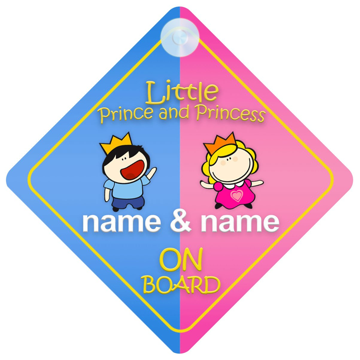 Personalised Child//Baby On Board Car Sign ~ Our Little Princesses ~ Pink