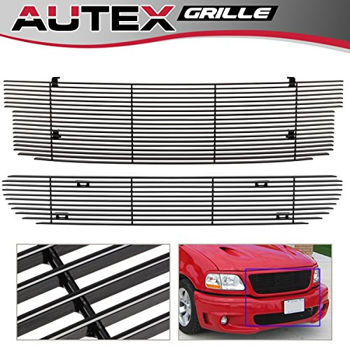 (AUTEX Compatible With Ford F150 1999 2000 2001 2002 2003 Grille Combo F87932H Main Upper + Lower Bumper Horizontal Billet Grill Insert (Only Compatible With F150)