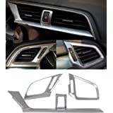 3Pcs Silver Car Console Dashboard Air Condition Outlet Vent Trim Cover Frame for Honda 10th Gen Civic 2016 2017 2018…