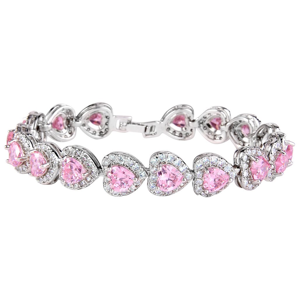 EVER FAITH Women's Full Zircon Elegant Heart-shaped Roman Tennis Bracelet N08455-1