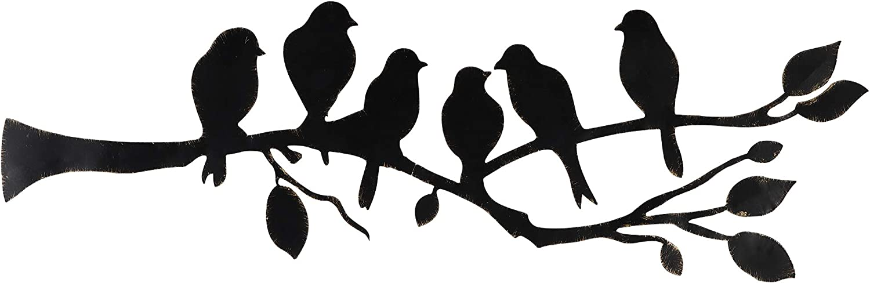 Ridota Metal Wall Art Decor, 6 Birds on the Branch Metal Art Wall Decor Hanging for Indoor Outdoor Home Garden, 24 x 7.5 Inch