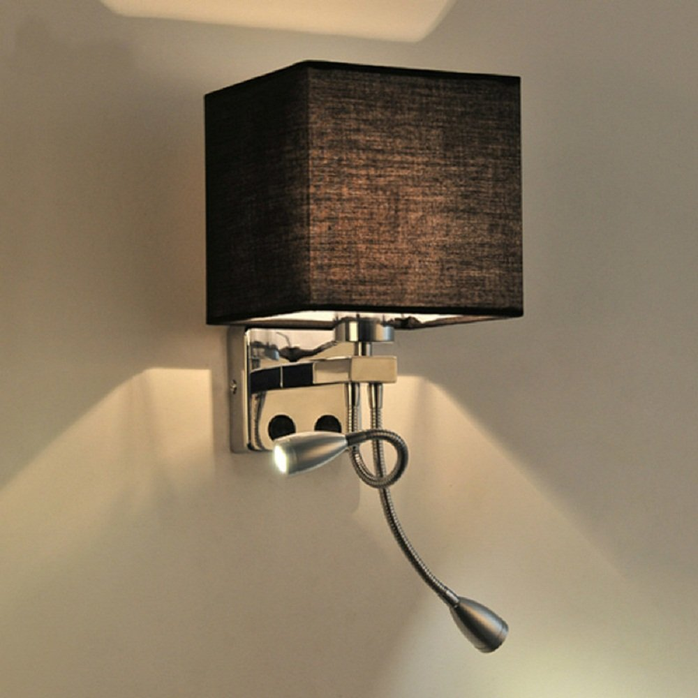 Lighting Groups LED Wall Light Bedside Wall Lamp Fabric Shade for Bedroom Hallway Dining Room Kitchen Wall Porch Lamps Fixture Decorative Night Light Reading Light Aisle Light (Black)