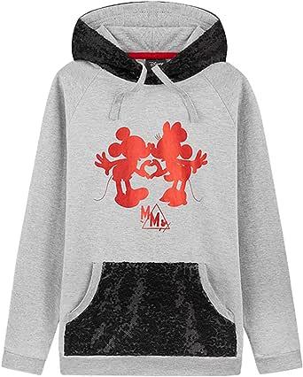 Disney Sudadera Niña, Sudaderas con Capucha de Mickey y Minnie Mouse con Detalles de Lentejuelas, Niñas y Adolescentes 7-14 Años