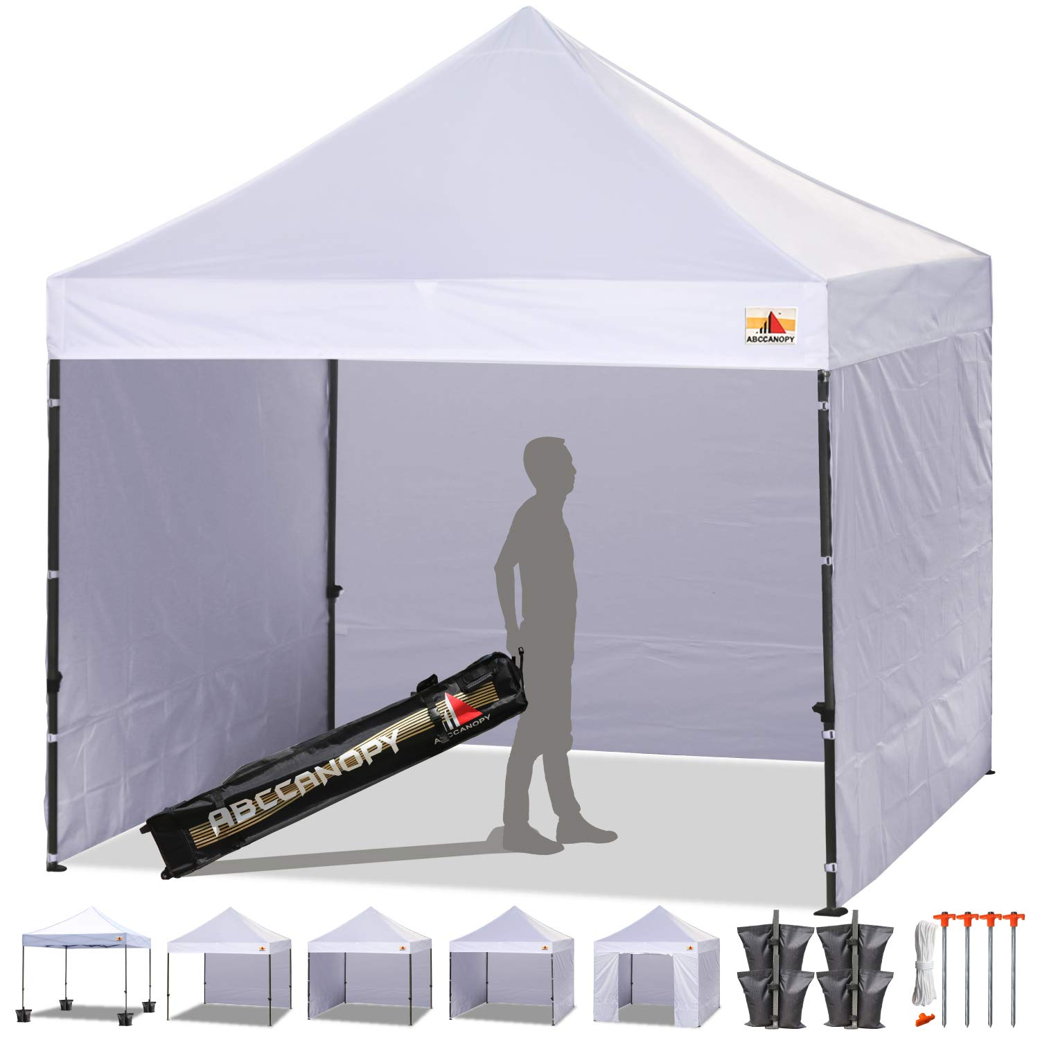 ABCCANOPY Pop-up Canopy Tent 8x8 Commercial Instant Tents Outdoor Canopies Easy to Set Up with 3 Side Walls and 1 Door Wall,Bonus Roller Bag, 4 Sandbags and Stakes(30+ Multi Colors) by ABCCANOPY