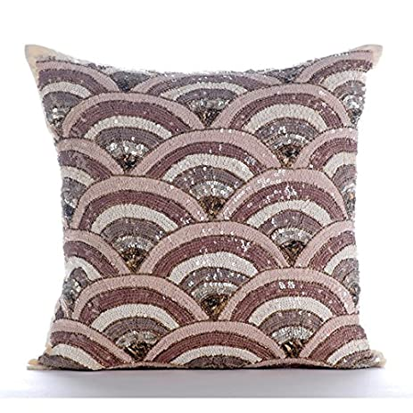 Amazon Luxury Beige Accent Pillows Sequins Beaded Sparkly Delectable Sparkly Decorative Pillows