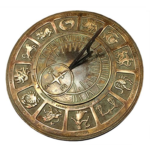 Rome Solid Zodiac Sundial, Brass by Rome