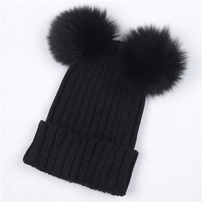 Mink Fur Pompom Hat Women Winter Hats Knitted Wool Cotton Hats Two Pom Poms  Bonnet Girls 655ade4391f