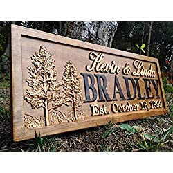 Rustic Wedding Signs Wood Wall Art Personalized Couples Gift Ideas Family Last Name Custom Name Sign Lakehouse Hunting Lodge Home Decor Tree Carved Wooden Cabin 5 Year Anniversary Gift