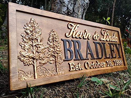 Rustic Wedding Signs Wood Wall Art Personalized Couples Gift Ideas Family Last Name Custom Name Sign Lakehouse Hunting Lodge Home Decor Tree Carved Wooden Cabin 5 Year Anniversary Gift (Decor Hunting Home)