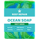 Reef Safe Soap - Minty Green. All Natural Organic Vegan Baby Safe Body & Face Soap. Cleansing, Biodegradable and Family Safe. Paraben & Sulfate Free Ocean Soaps from Reef Repair 90g
