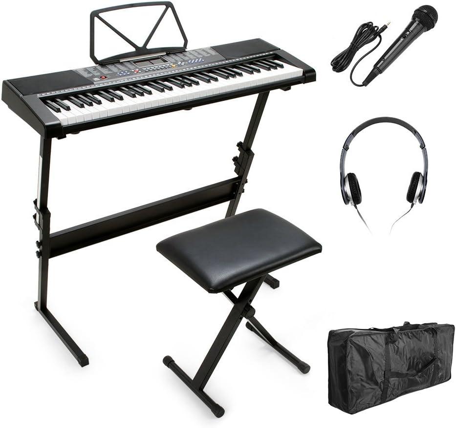 Vangoa MK-2108 - Teclado con pantalla LCD de 61 teclas con soporte de música, banco, micrófono, auriculares, bolso de teclado