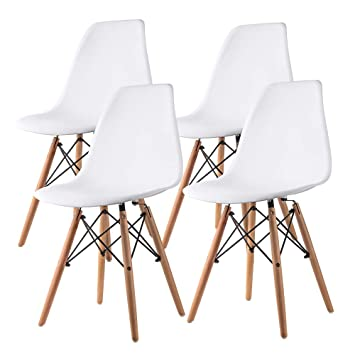 Nidouillet Sillas de Comedor Set de 4 Sillas de Cocina para Sala Blancas con Diseño de Estilo Retro de con Patas de Madera AB015
